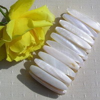 White Mother of Pearl Stretchy Cuff Bracelet - 'Snowdrop'