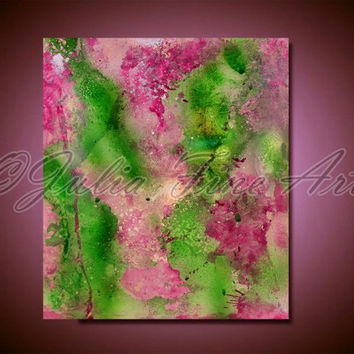 Purple Painting Pink Print Abstract Art Green Lilac Paint