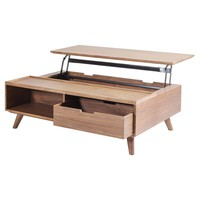 Pascal Lift-Top Rectangular Coffee Table, Storage and Drawer, Walnut
