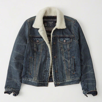 Womens Sherpa Denim Jacket | Womens Coats & Jackets | Abercrombie.com