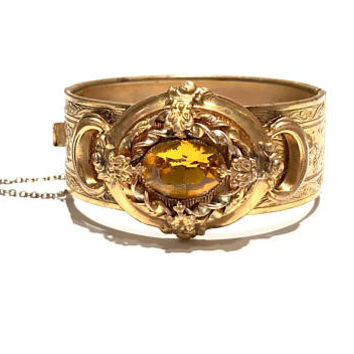 Victorian Hinged Bangle Bracelet, Art Nouveau, Antique, Gilt, Ornate Mounted Plaque, Topaz Faceted Stone, Etched Floral Design, Gift For Her