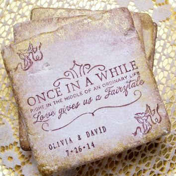 Fairy Tale Personalized Gift Once in a While Right in the Middle of an Ordinary Life Wedding Coasters Fairytale Set of 4 Bridal Registry