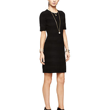 Kate Spade Textured Stripe Scuba Dress Black