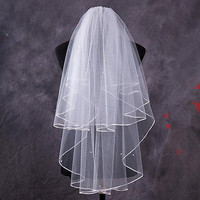 1.5M Two Layer Wedding Veil Garden Veils With Comb High White Ivory Veil HU