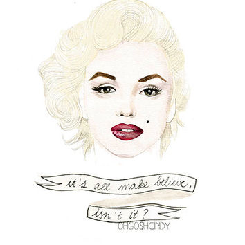 Marilyn Monroe watercolour portrait PRINT by ohgoshCindy on Etsy
