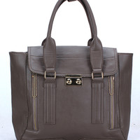 Front Flap Tote Bag with Outer Zip