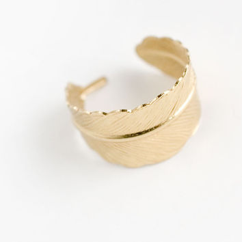 Feather Adjustable Ring feather ring woodland wedding fall jewelry wrap ring
