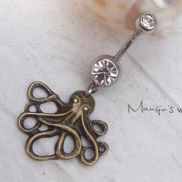 Octopus Belly Button Ring- Crystal Belly Ring- Bronze Octopus Charm Dangle Navel Piercing Bar Barbell- B022