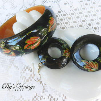 Vintage Hand Painted Black Wood Bangle & Earrings, Leaf/ Floral Painted Bracelet Set