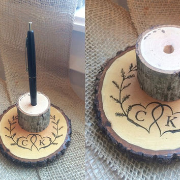 Wedding Pen Holder, Wedding Sign In, Rustic Pen Holder, Custom Pen Holder, Wedding Book Prop, Wood Pen Holder, Wood Slice Pen Holder