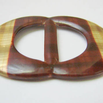Unique Art Deco 1930s Plaid Faux Tortoiseshell Celluloid Slide Belt Buckle / Vintage Fashion / Vintage Sewing