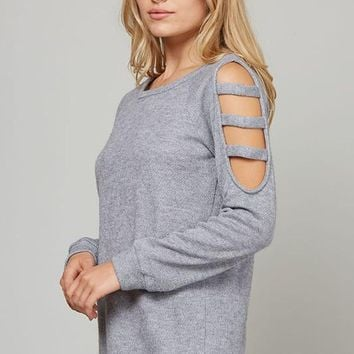 Textured knit Top with Cut Out Arm detail, Round Neck and Long Sleeves - Grey
