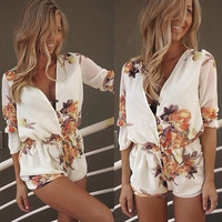 Women's white flower print v-neck sexy jumpsuit Casual Style = 5617122497