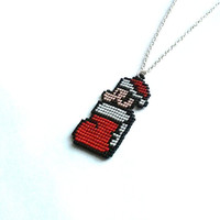 Super Mario, Stocking,Super Mario Christmas Necklace, Handmade, Handbeaded Jewelry, 8bit jewelry,