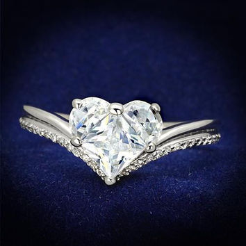 A Perfect 2.4CT Heart Cut Russian Lab Diamond Bridal Set Ring Wedding Bands