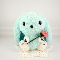 kawaii amigurumi Bunny light cyan fuzzy Ready to by gurumiorama2