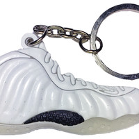 "Nike Air All White ""Whiteout"" Foamposite One 2D Flat Keychain"