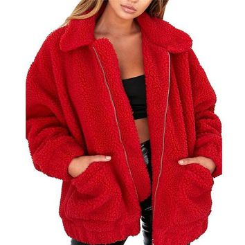 Fluffy Warm Soft Thick Plush Fleece Zipper Short Jacket