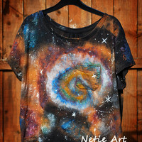 Hand painted galaxy nebula space universe stars by NetieArt