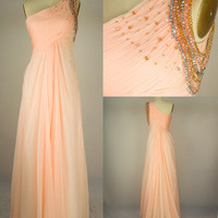 One-shoulder Long Chiffon Prom Dress Evening Gown, Evening Dress, Wedding Party Dress