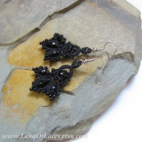 "Litle black victorian lace earrings Tatted lace and beads Gothic style earrings ""Filigran"" collection"