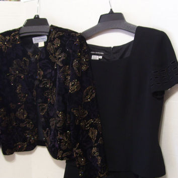 Donna Morgan Rich Black Dress And//Or Dressy Jacket  Your Choices US SHIP FREE