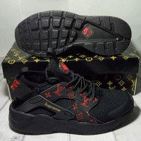 NIKE x LV x Supreme AIR Huarache Fashion Women Men Running Sport Casual Shoes Sneakers Black Red