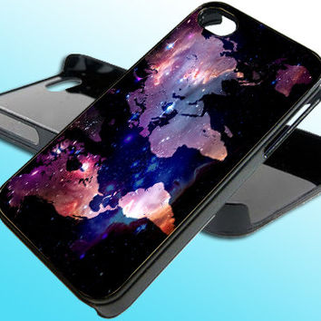 Worldwide Map Galaxy Nebula for iPhone 4/4s Case - iPhone 5 Case - Samsung S3 - Samsung S4 - Black - White (Option Please)