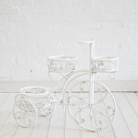 White Rattan Tricycle Planter