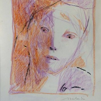 Saatchi Art: Colored pencil portrait 1 Drawing by Frederic Belaubre