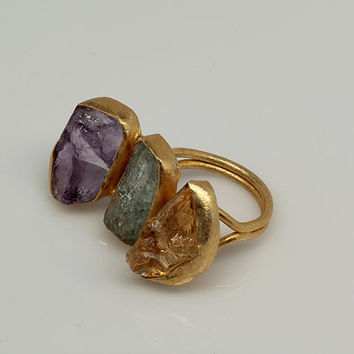 Natural Rough 3 Stone Ring, Triple Stone Gemstone Ring, Raw Gemstone Ring, Citrine, Amethyst, Aquamarine Ring, Bezel set Ring, Handmade Ring