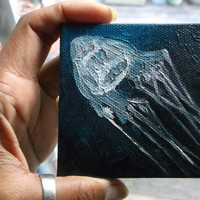 "Original Mini Oil Painting of White Box Jellyfish 3""x 3"" READY to SHIP"