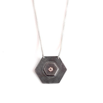 On SALE Oxidized Silver and Cubic Zirconia stone pendnat necklace in an Hexagon geometric shape - Oxidized Silver Boho chic jewelry