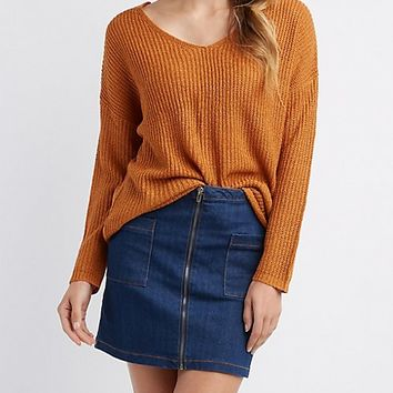 Shaker Stitch V-Neck Sweater | Charlotte Russe