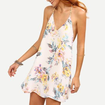 2017 Summer Dress Women Sexy Backless Flower Print Strappy Swing Cami Mini Dress Sleeveless White Beach Dresses vestidos