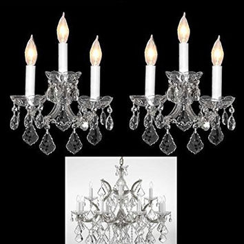 "Set of 3 - 1 Crystal Chandelier Lighting H 30"" W 22"" and 2 MARIA THERESA WALL SCONCE CRYSTAL LIGHTING H11.5"" x W14""! Trimmed with Spectra (tm) Crystal - Reliable Crystal Quality By Swarovski® - 1EA-CS/B7/21532/12+1 + 2EA-CS/3/2813-SW"