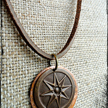 Mens Leather Compass Necklace Compass Charm and Copper Disc Necklace Explorer