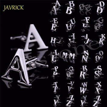 JAVRICK Men's DIY Silver Initials Letters Pure Stainless Business Cufflinks