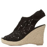 Black Crocheted Lace Peep Toe Wedges by Qupid at Charlotte Russe