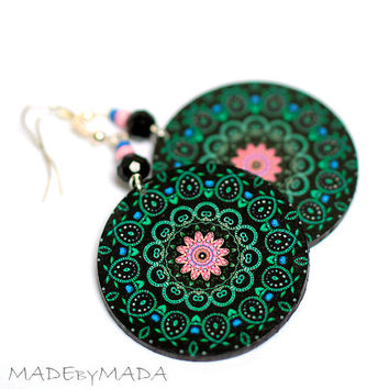 Mandala dangle Round decoupage earrings Black Pink Green Rosette, Free Shipping  gift for her under 25