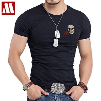 Style Men O-Neck T Shirt Swag Punk Rock Mens embroidery patch T-shirt Skull tshirt Buddha Tee Shirts Casual