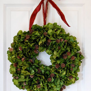 Green Hydrangea Wreath, Front Door Wreath, Holiday Wreath, Fall and Winter Wreath, Thanksgiving, Christmas