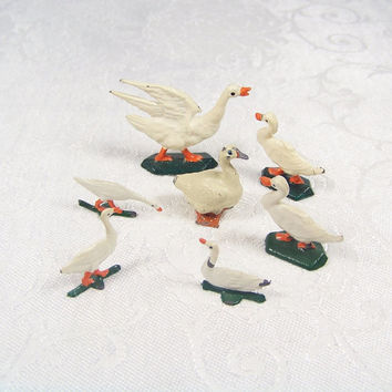 Metal Geese Figurines Shabby Chic Vintage Goose Gaggle