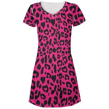 MDIGCY8 Pink Cheetah Print All Over Juniors V-Neck Dress