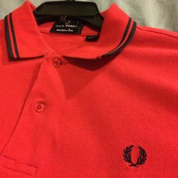 Sale!! Vintage EUC Fred Perry Casual red Polo Shirt size Large Free shipping within th