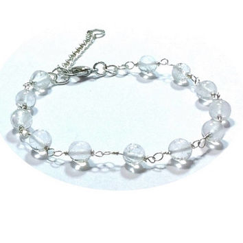 Quartz Bracelet  , Sterling Silver Bracelet  , Sterling  Silver  Wire Wrapped Quartz Beads