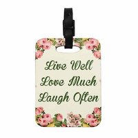 """NL Designs """"Live, Love, Laugh"""" Floral Typography Decorative Luggage Tag"""