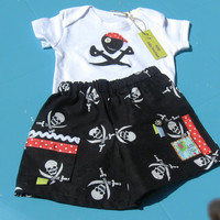 Baby Pirate Onesuit and shorts, 3-6 months, black, white, baby pirate Onesuit, baby boy shorts, baby beach outfit, baby pirate outfit