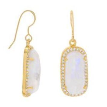 Rainbow Moonstone with CZ Edge 14kt Gold-Plated .925 Sterling Silver Earrings