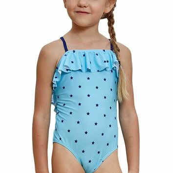 Little Stars Print Turquoise Little Girls Maillot